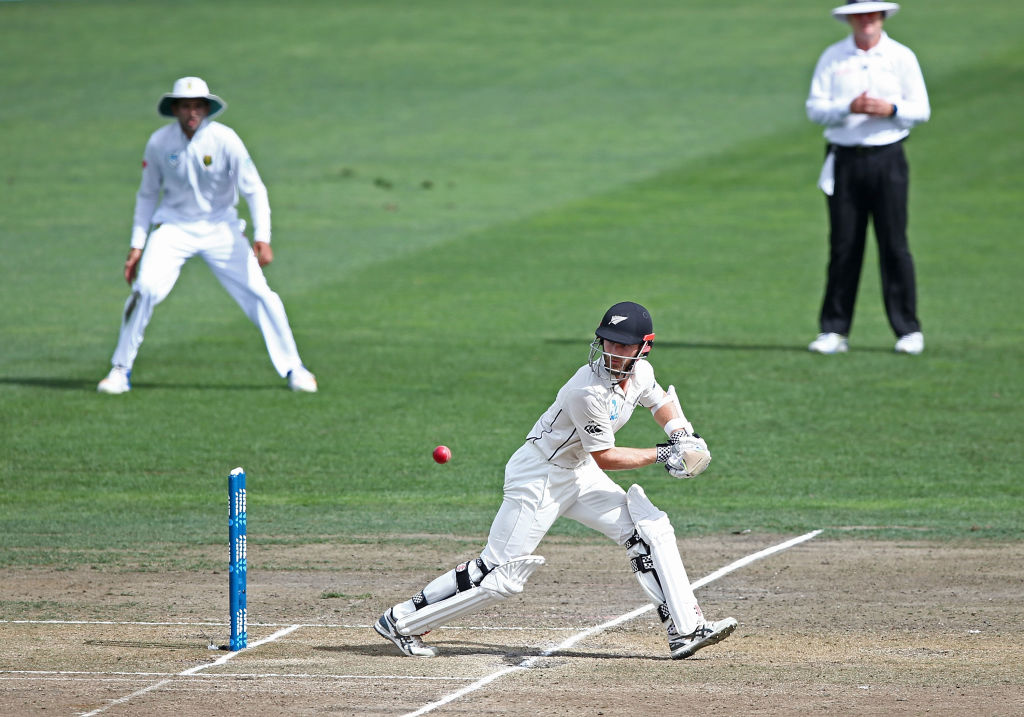 New Zealand skipper Kane Williamson in action against South Africa during their test in in...