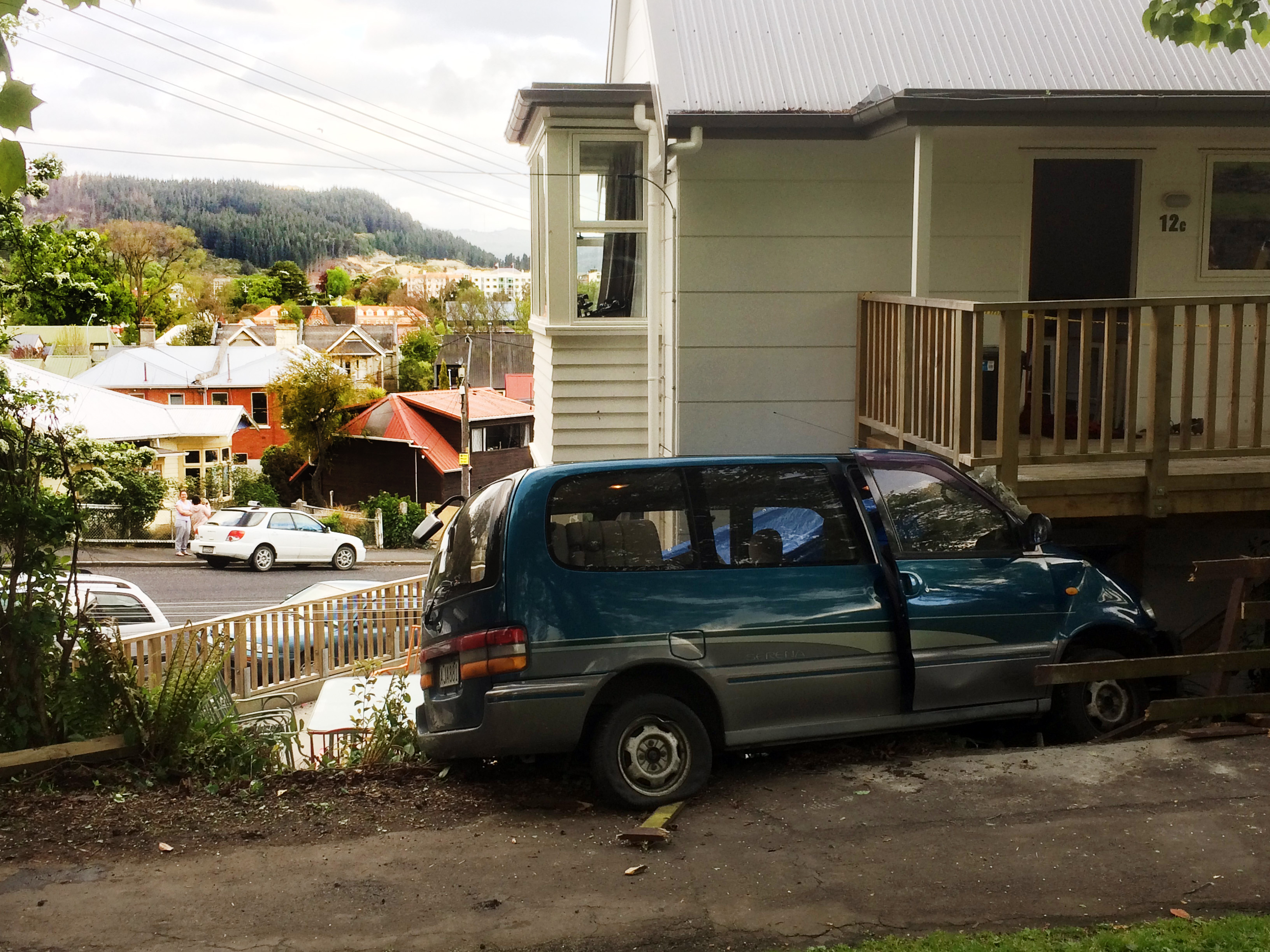 The car ended up wedged under the verandah of a house on the corner of Regent Rd and Queen St....