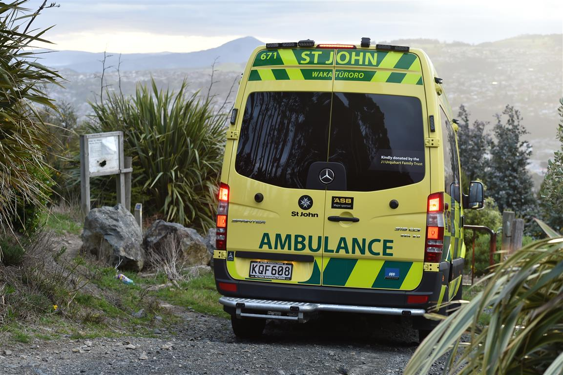 An ambulance at the scene this evening. Photo: Gregor Richardson