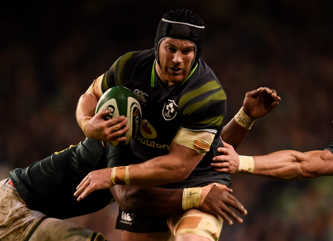 Sean O'Brien runs the ball up for Ireland against South Africa. Photo: Reuters