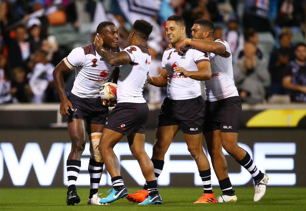 Fiji players celebrate a try against Italy during their match at Canberra Stadium last weekend....