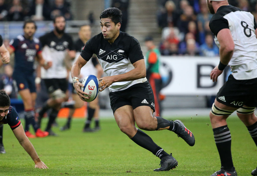 Rieko Ioane in action against France recently. Photo Getty