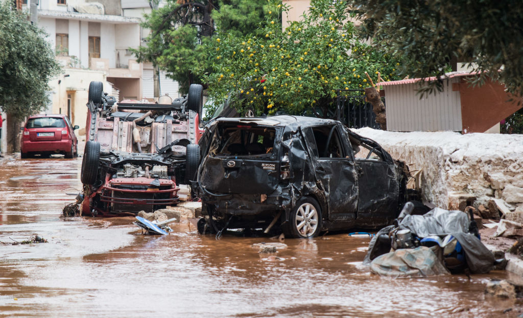 Flood damage in the town of Mandra, northwest of Athens. Photo: Getty