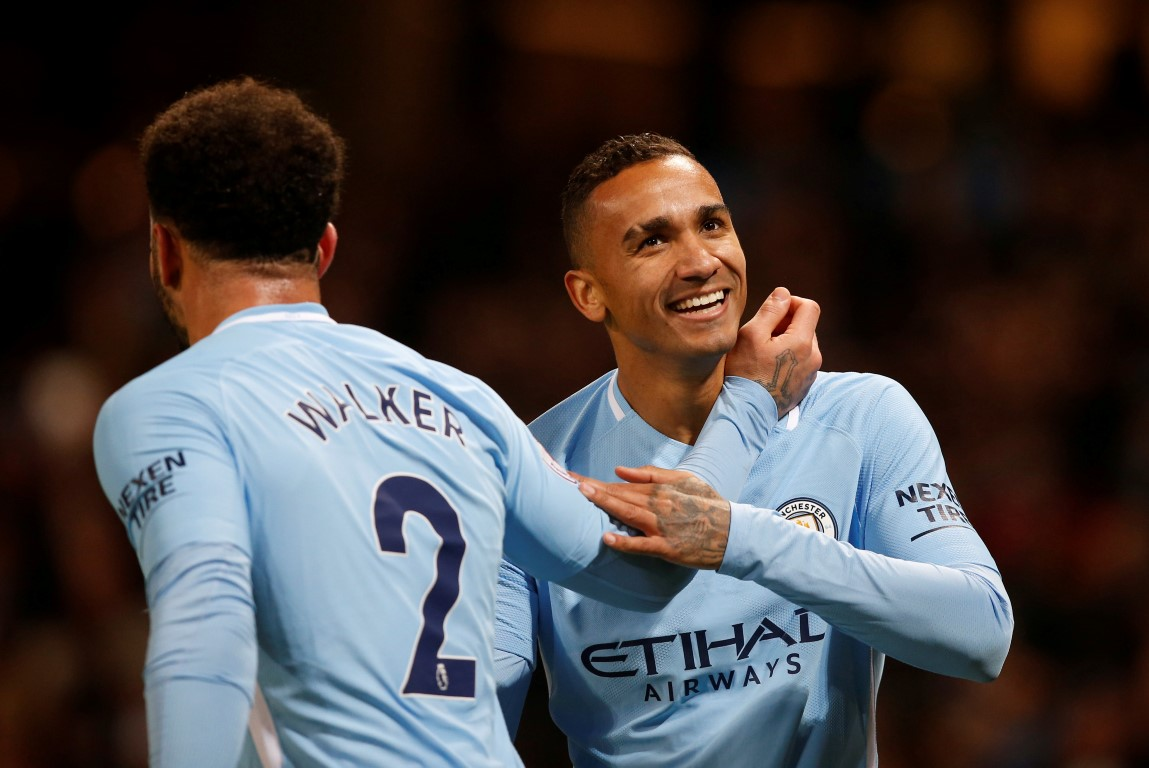 Manchester City's Danilo celebrates with Kyle Walker after scoring their fourth goal. Photo:...