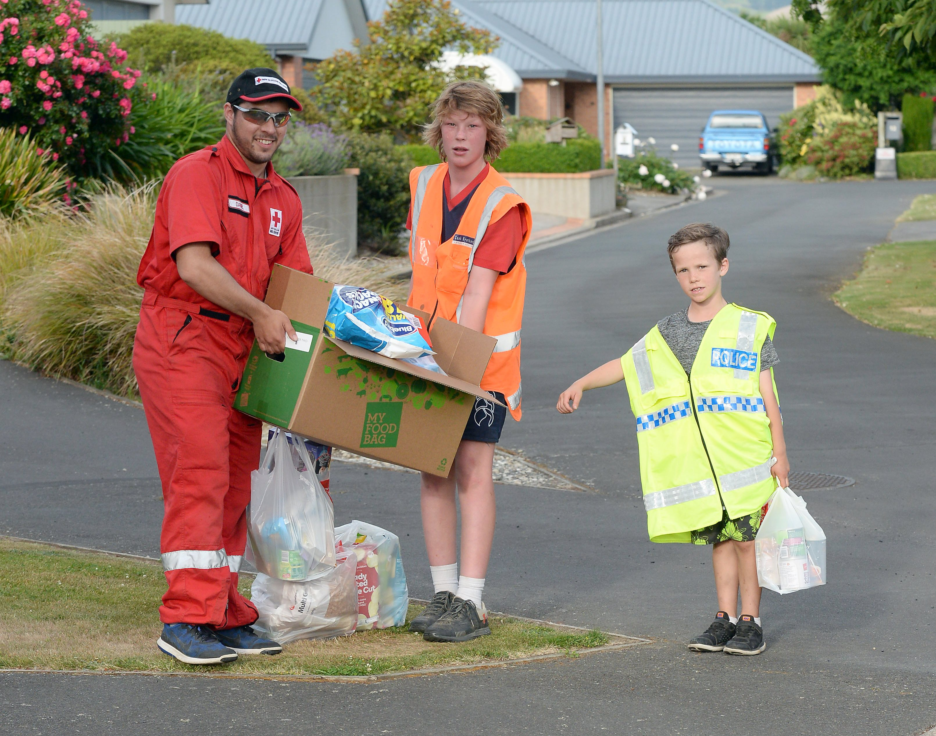 Collecting for the 2017 Food Bank Drive in Mosgiel's Bishop Verdon Close are (from left) Daniel...