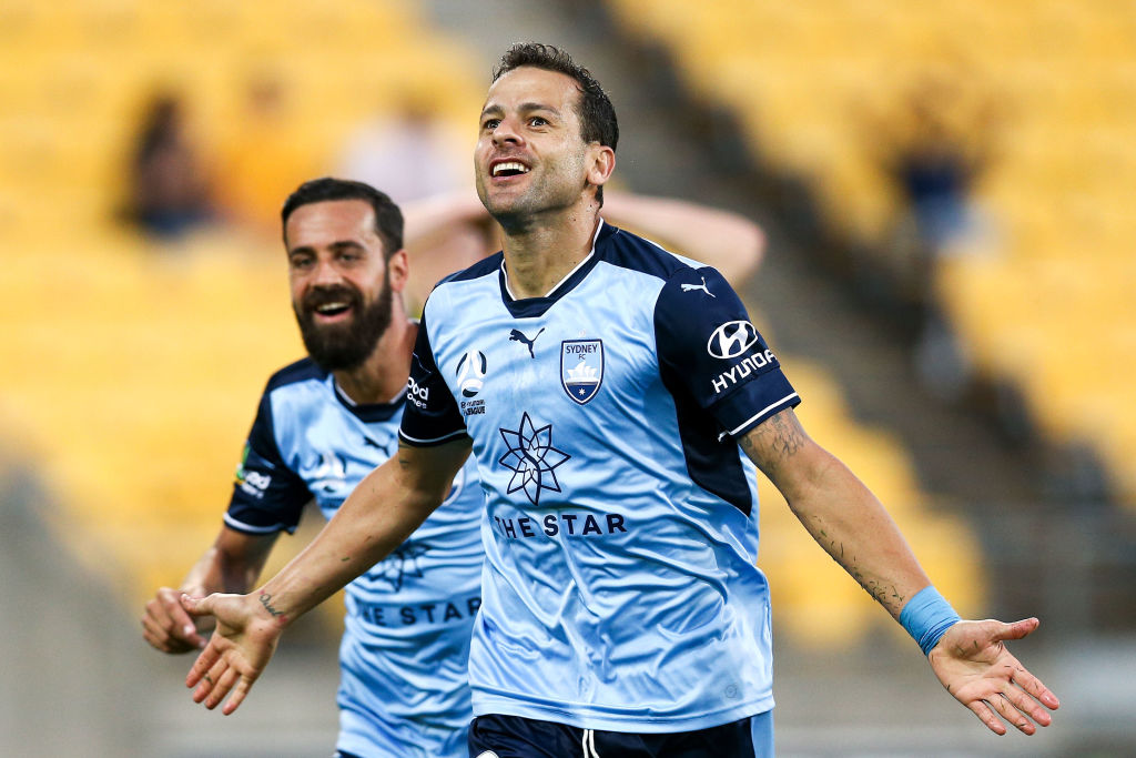 Sydney FC's Bobo scored a hat-trick in the win over the Phoenix at Westpac Stadium in Wellington....