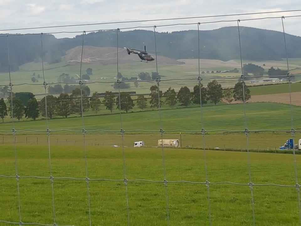 A helicopter transports a patient from the scene of a crash near Milton this afternoon. Photo:...