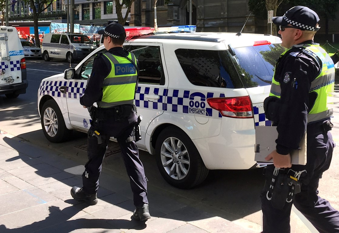 Police at the scene after the incident in central Melbourne. Photo: Getty