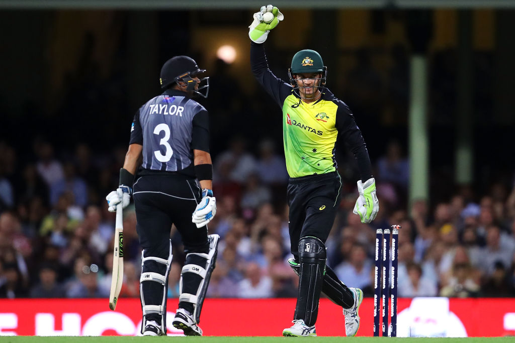 New Zealand's Ross Taylor walks off after being dismissed against Australia during game one of...