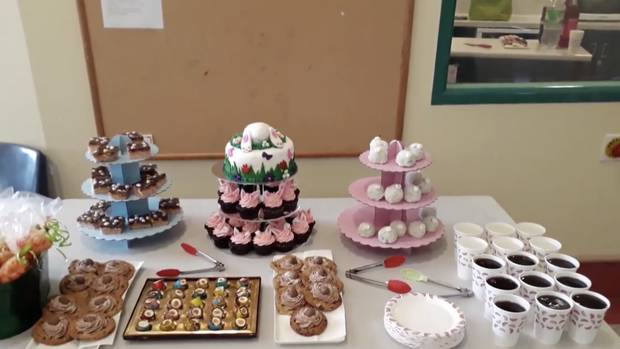 The video showed a table laden with sweet treats for Easter. Image: Waitemata DHB video