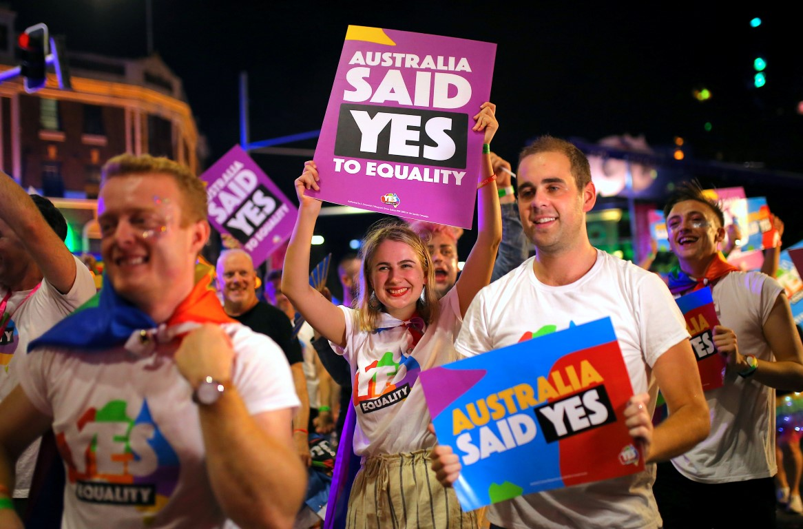 Saturday night's parade was the first since Australia legalised same-sex marriage. Photo Reuters