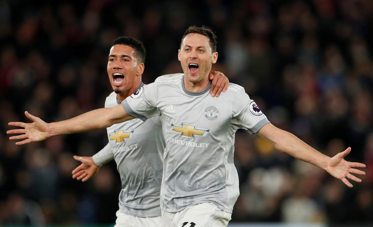 Nemanja Matic celebrates after scoring the winning goal for  Manchester United. Photo Reuters