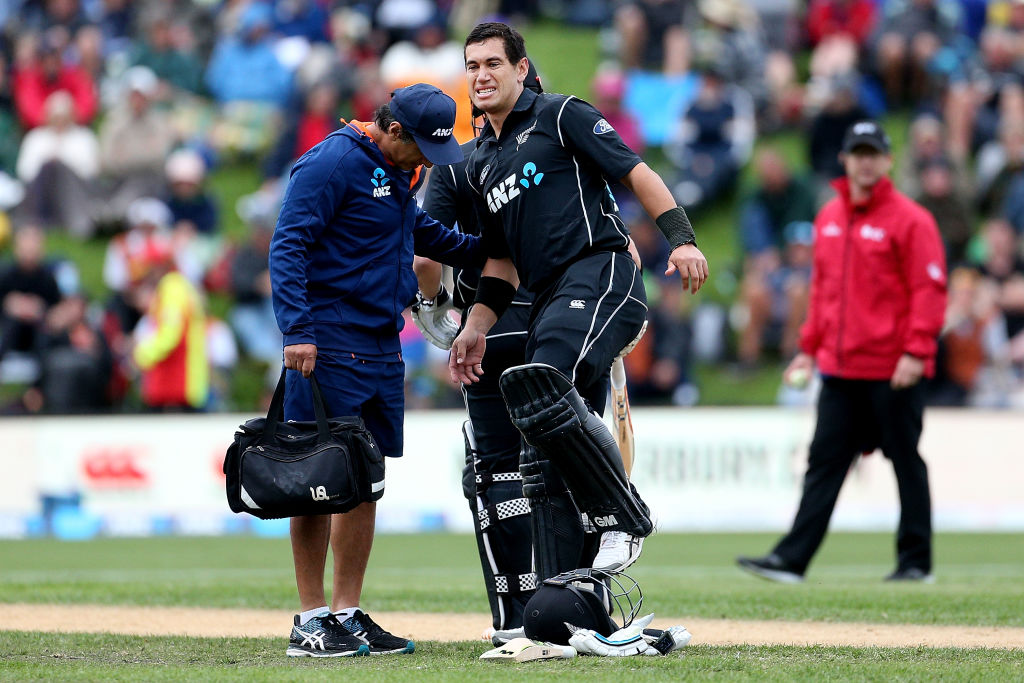 Ross Taylor gets some attention on his leg during his match-winning knock in Dunedin yesterday....