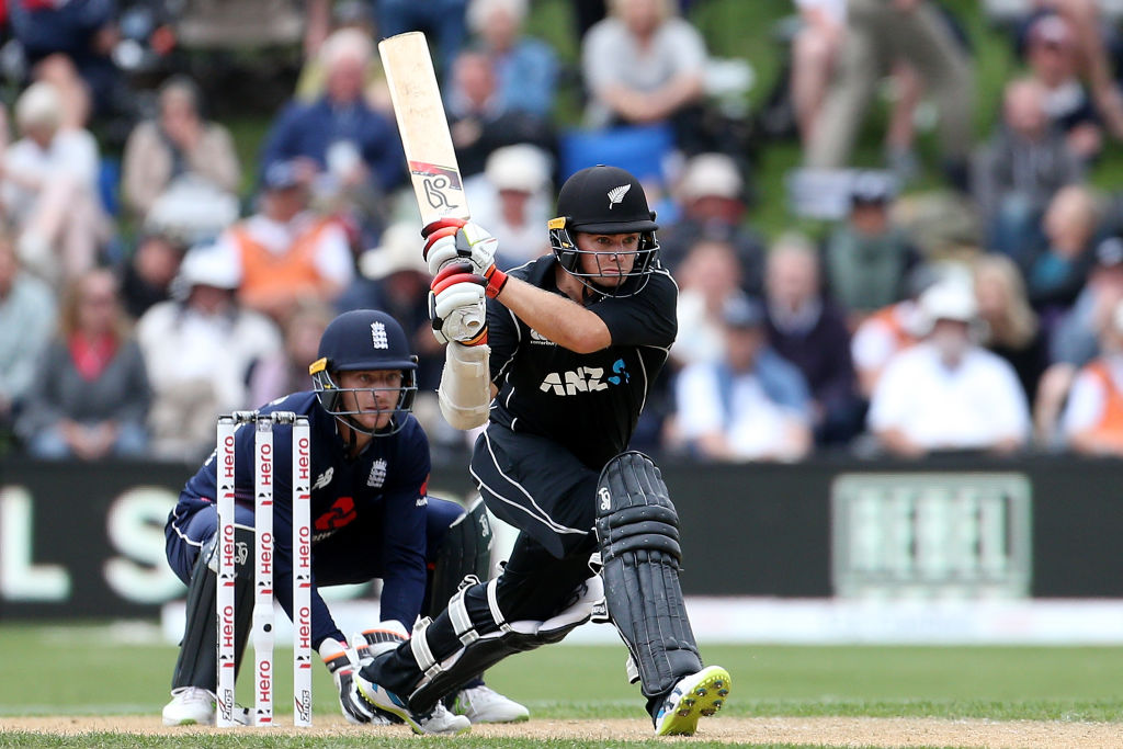 Tom Latham hit some crisp shots in his innings of 71 against England yesterday. Photo Getty Images