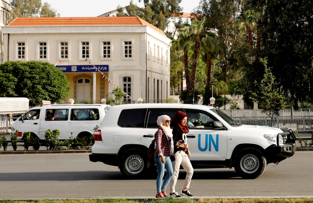 A UN vehicle carrying OPCW inspectors in Damascus, Syria, earlier this month. Photo: Reuters