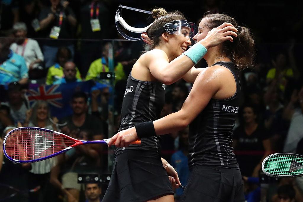 Joelle King (L) and Amanda Landers-Murphy celebrate their victory. Photo: Getty