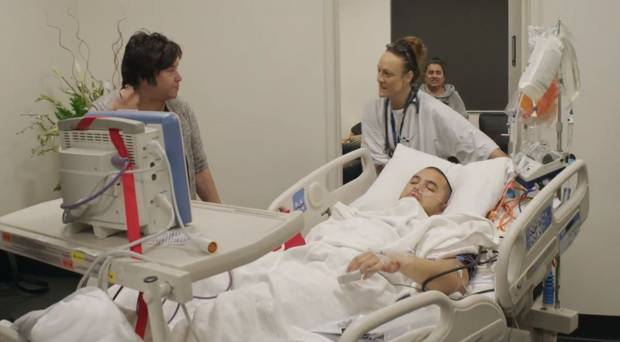 Stan Walker as seen in his documentary following him getting his stomach removed. Photo: NZ Herald