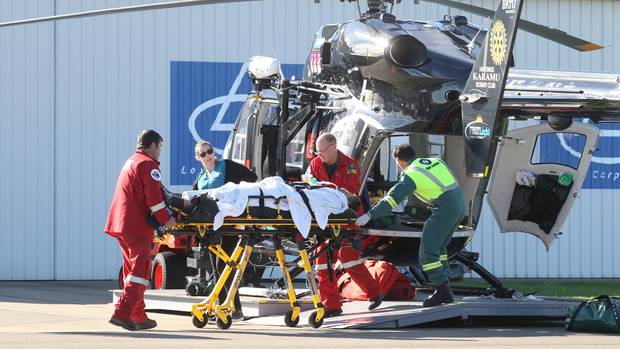 The Lowe Corporation Rescue Helicopter lands at its Hawke's Bay Hospital base with an injured...