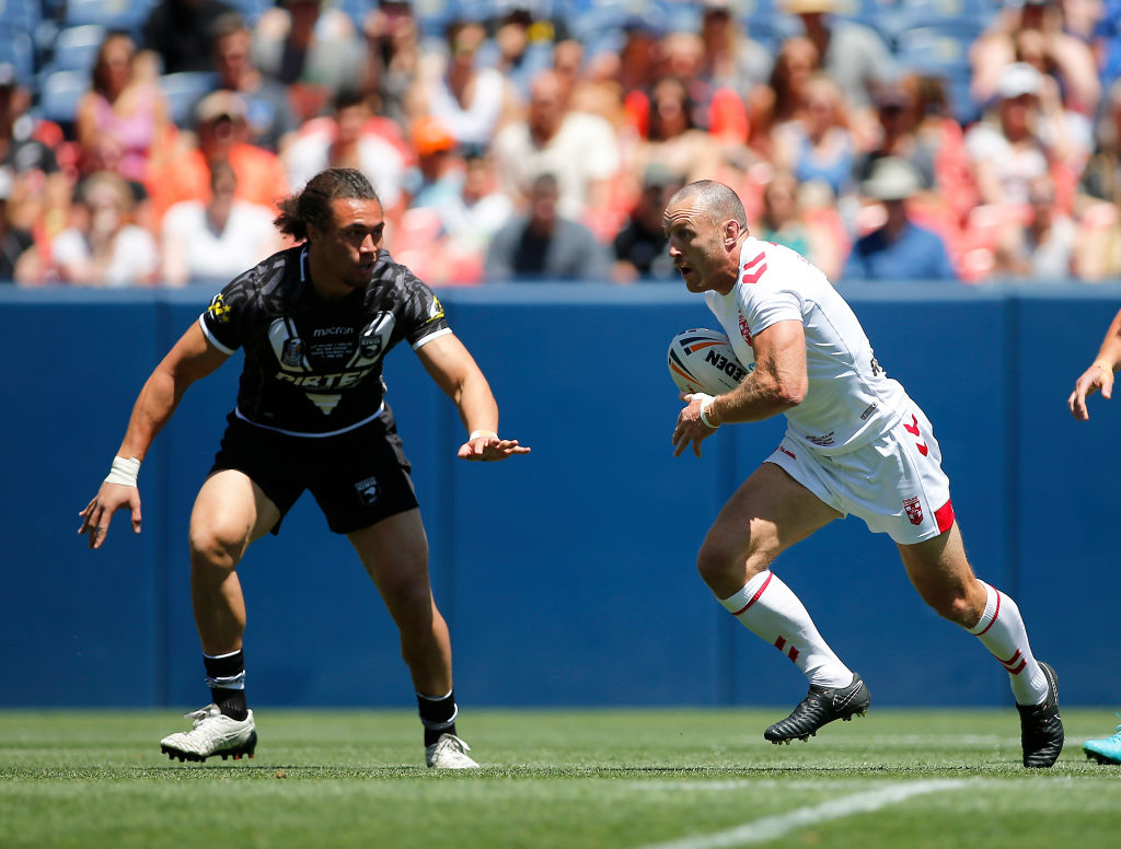 James Roby runs the ball up for England against New Zealand. Photo: Getty Images