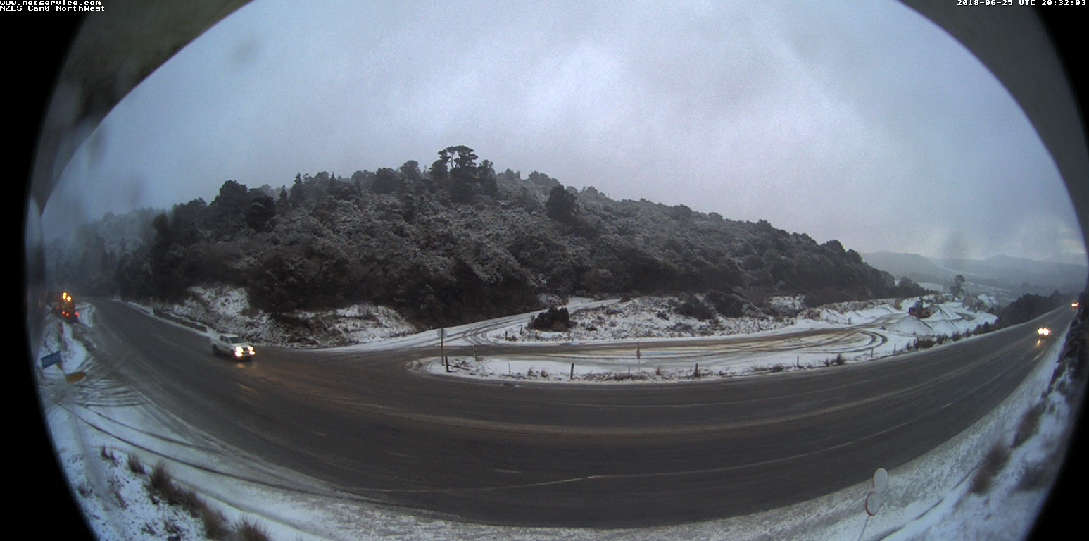 A dusting of snow can be seen on the Northern Motorway this morning. Photo: NZTA