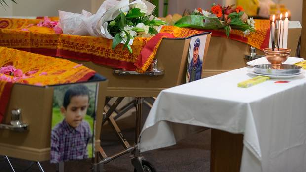 Christchurch funeral service for Tej Kafle ,Tika Kafle and Pream Kafle, who died in a fire at...