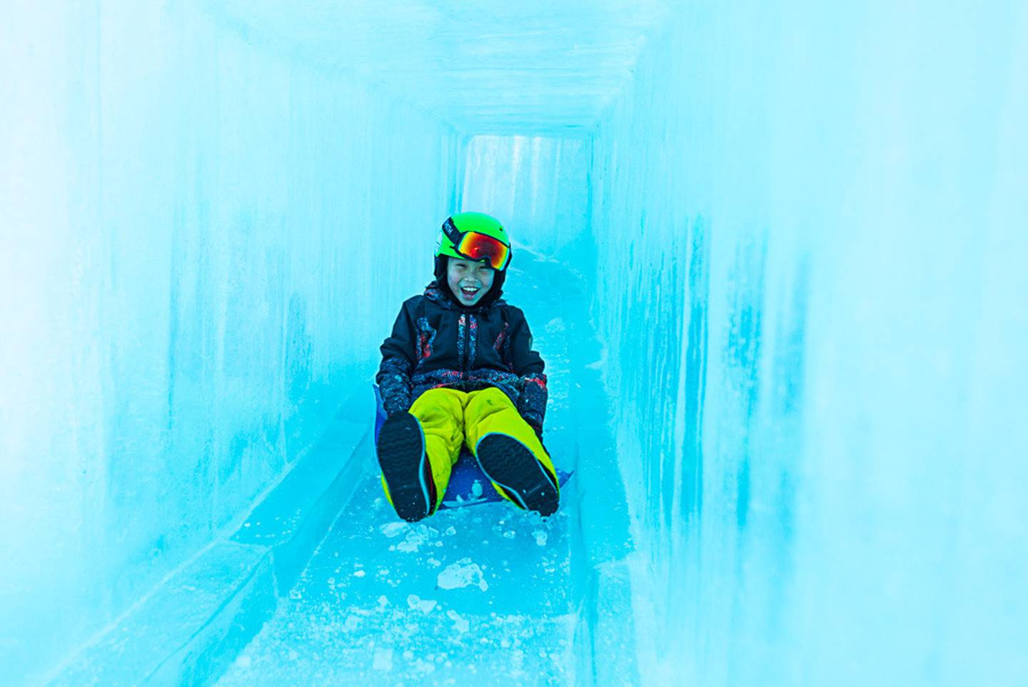 The Ice Castle features tunnel slides, turrets, peep holes and a large throne. Photo: Coronet Peak