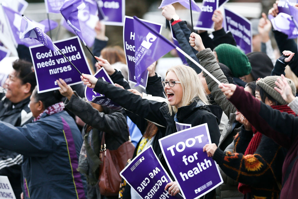 Nurses and Workers Union members take part in strike action at Wellington Regional Hospital this...