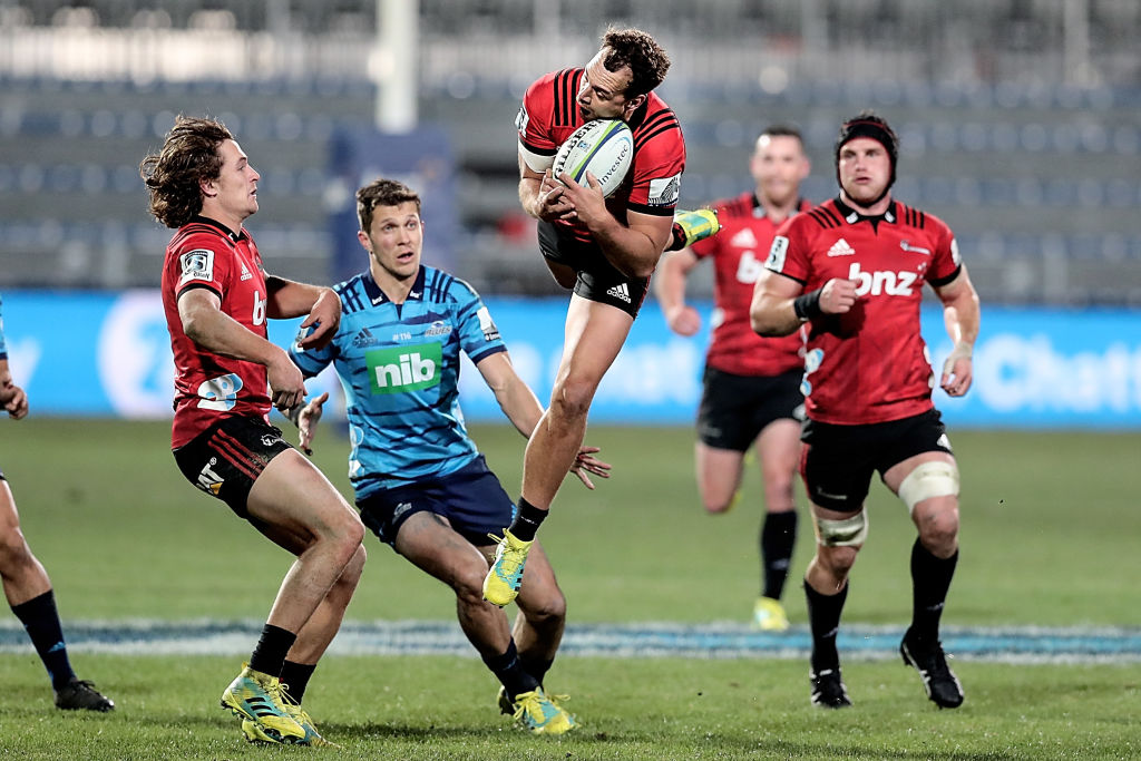 Israel Dagg takes a high ball for the Crusaders against the Blues last night. Photo: Getty