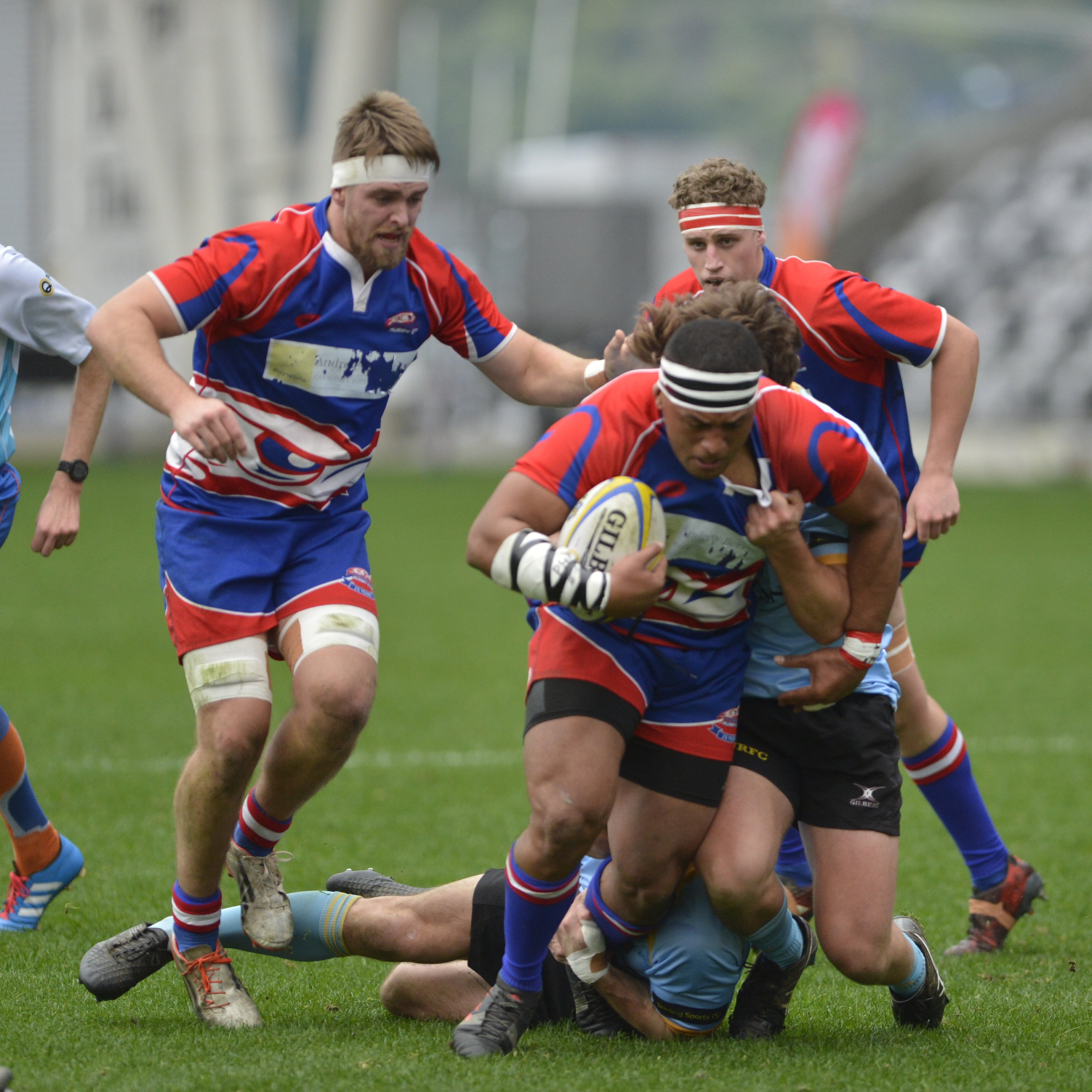 Harbour players in action during the premier rugby final in Dunedin at the weekend. Photo: Gerard...