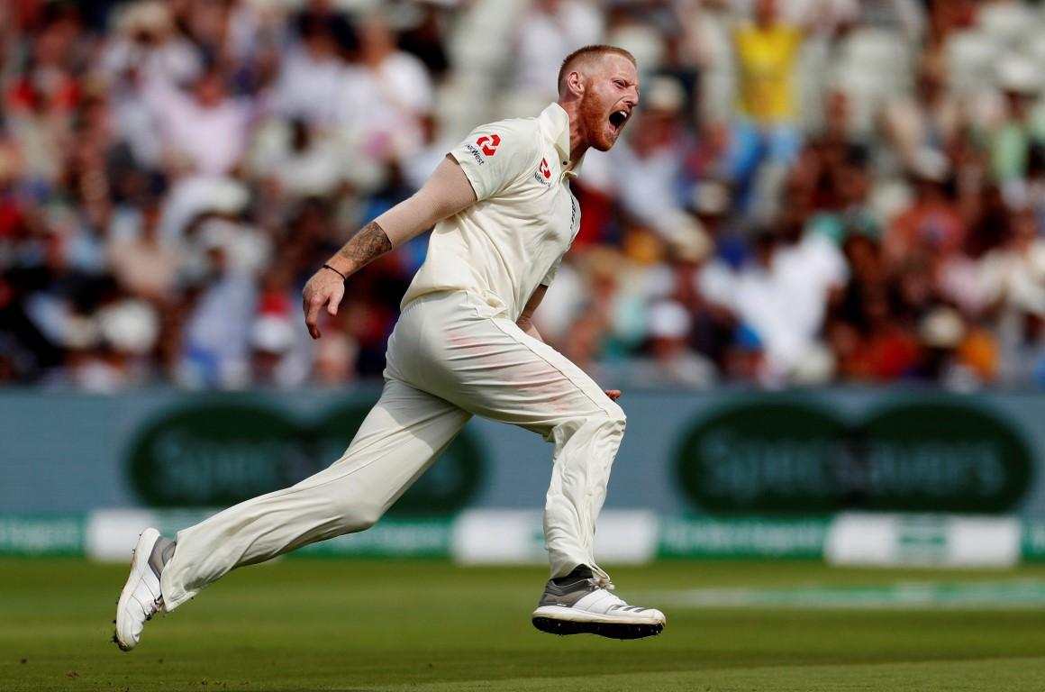 England's Ben Stokes celebrates the wicket of India's Mohammed Shami. Photo: Reuters