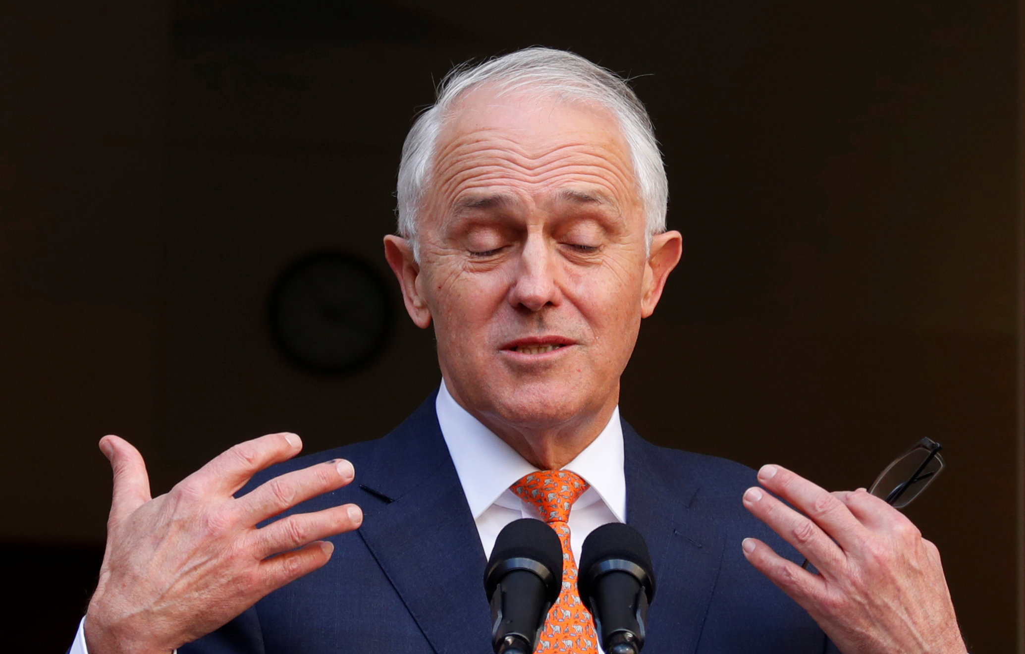 Former Australian Prime Minister Malcolm Turnbull speaks during a news conference after a party...
