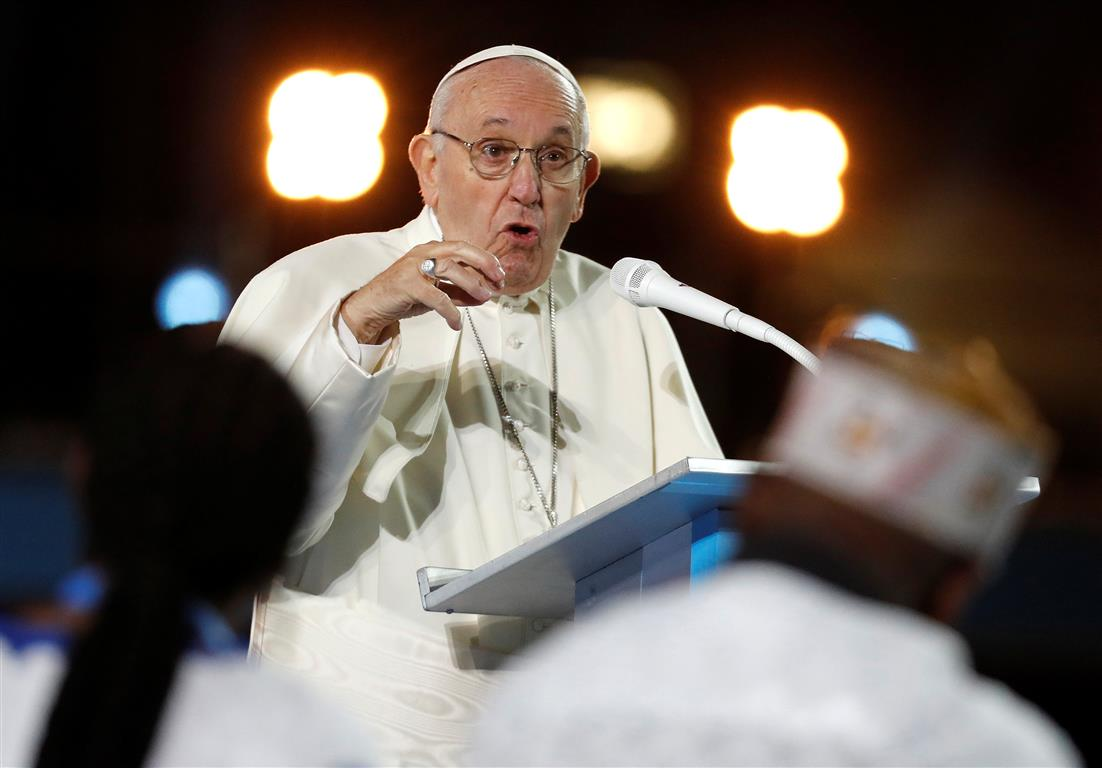 Pope Francis speaks during the Festival of Families at Croke Park in Dublin. Photo: Reuters