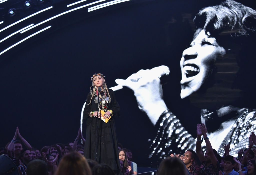 Madonna during her presentation at the 2018 MTV Video Music Awards at Radio City Music Hall in...