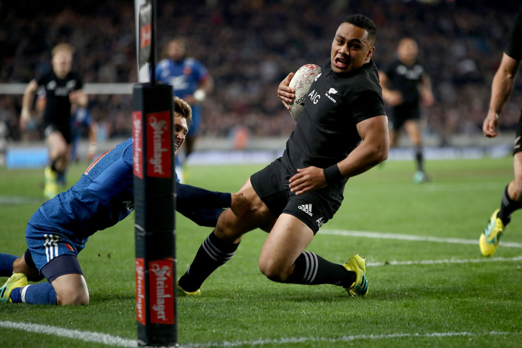 Ngani Laumape runs in a try for the All Blacks against France at Eden Park in June. Photo: Getty