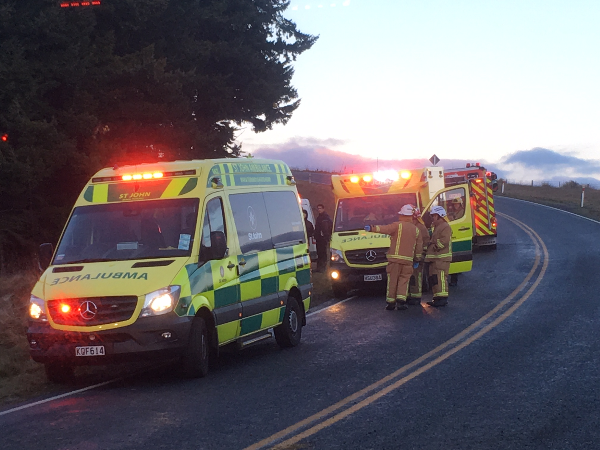 Three ambulances attended a crash at Lee Stream this morning. Photo: Stephen Jaquiery