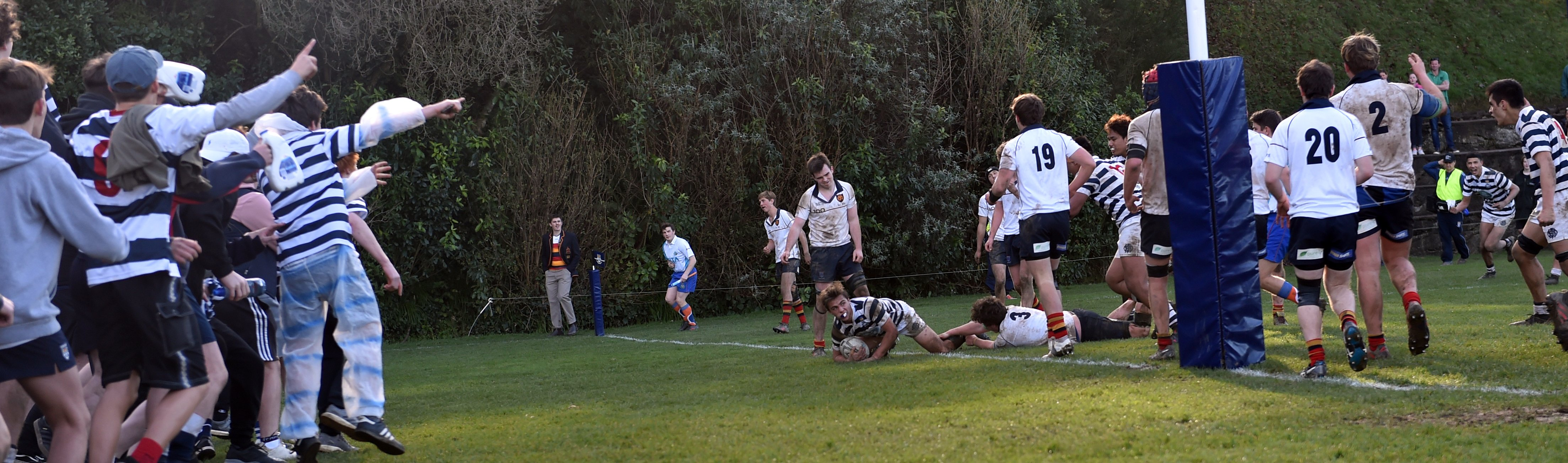 Otago Boys' High School first XV halfback James Arscott scores the winning  try against the John...