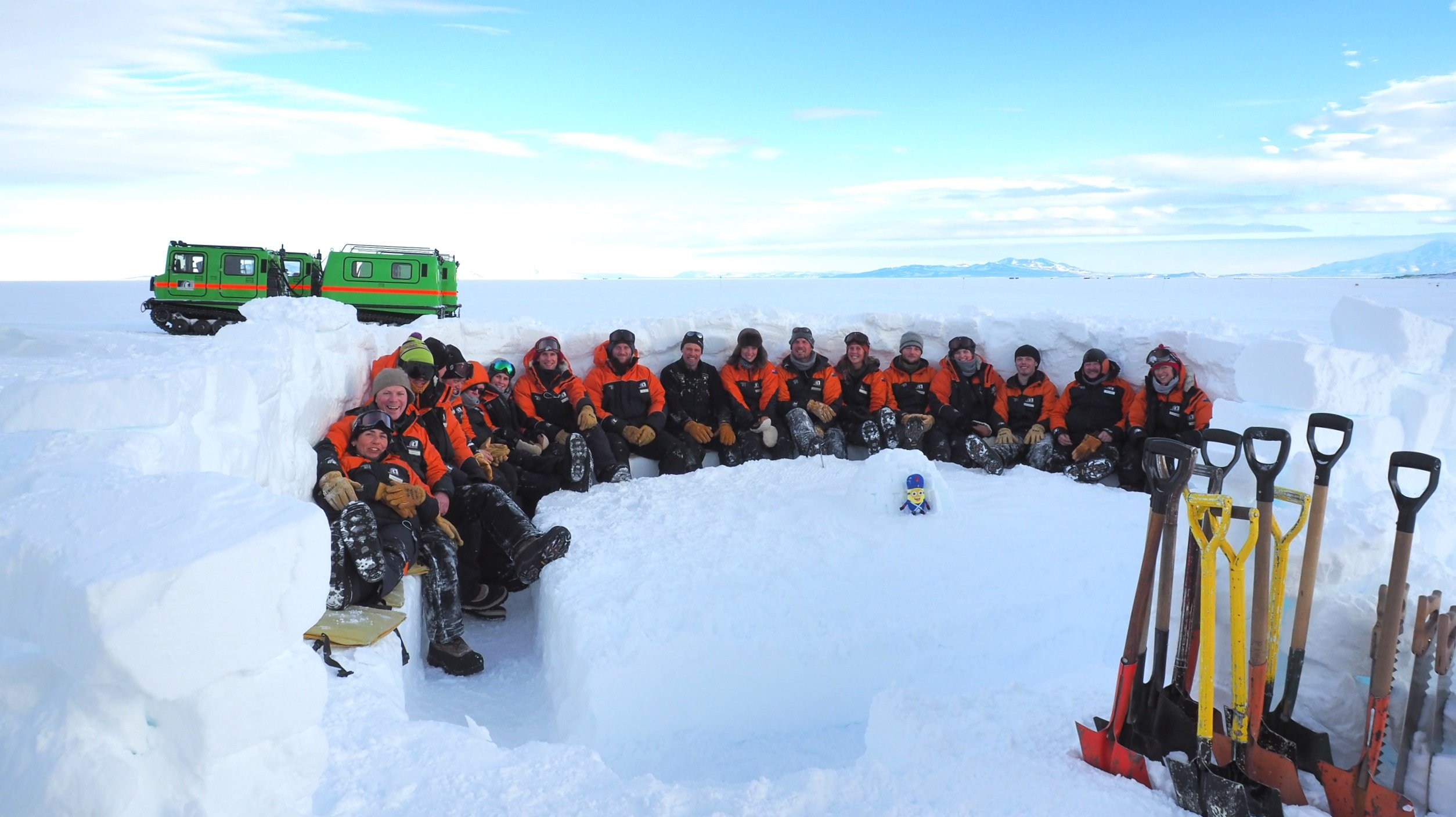 Chris Long with his students halfway through an Antarctic field training course last year. Photo:...