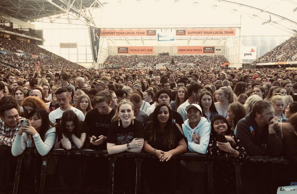 Fans pack Forsyth Barr Stadium ahead of the first of three Ed Sheeran gigs. Photo: Craig Baxter