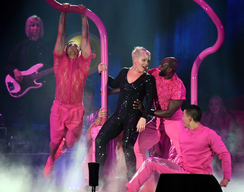 Pink on stage in Dunedin on Saturday night. Photo: Stephen Jaquiery