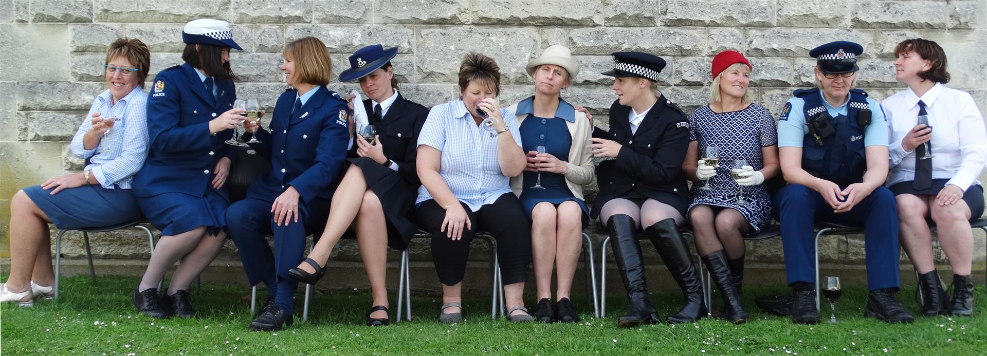 Front-line police officers and administrative staff Sue Pennycook (left), Senior Constable Carrie Hamilton, Constable Ruth Perham, Constable Olivia Winbush, Robyn McKenzie, Senior Constable Sandy Agnew, Detective Sergeant Hannah Booth, Adele Herron, Senio
