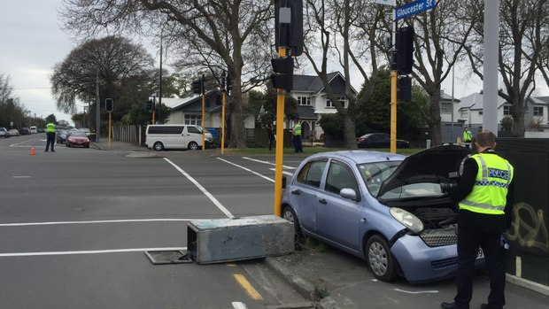 The accident happened at on the corner of Fitzgerald Ave and Gloucester St. Photo: NZME