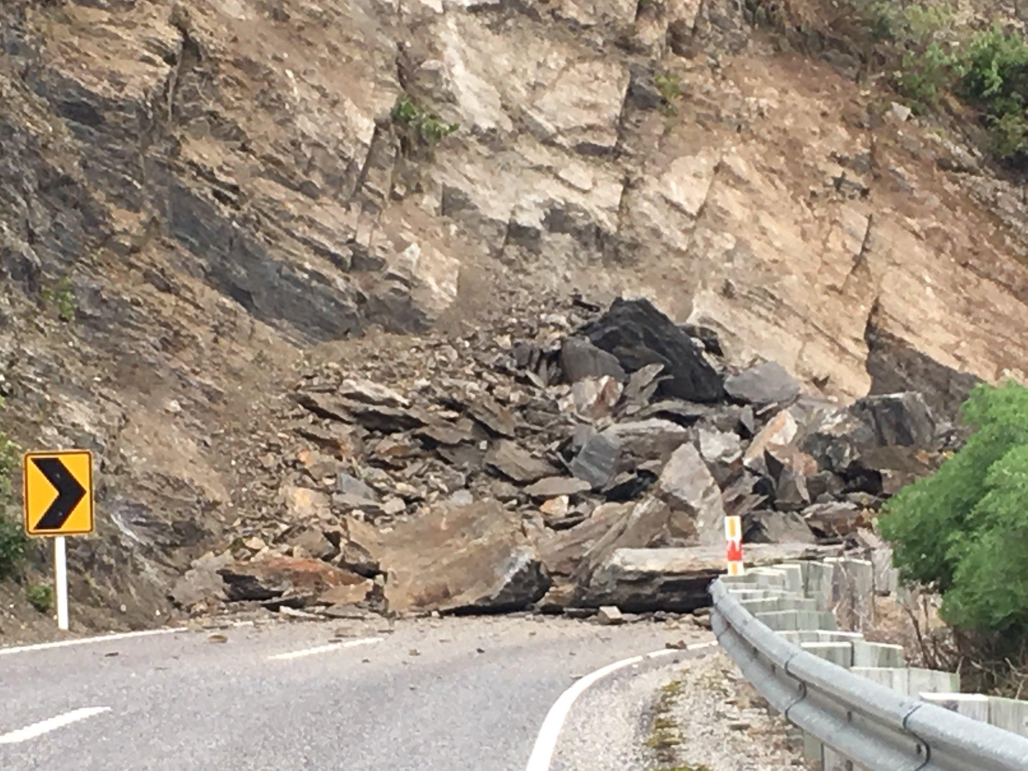 Rocks cover SH6 outside of Makarora. Photo: Lindsay Doebler