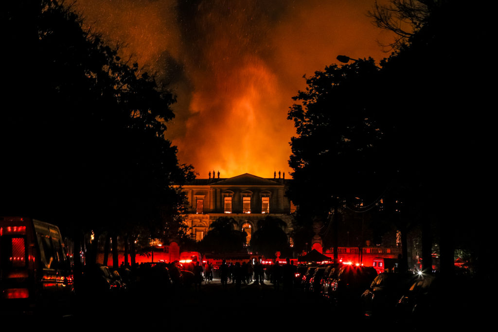 The fire burns at the National Museum of Brazil in Rio de Janeiro. Photo: Getty
