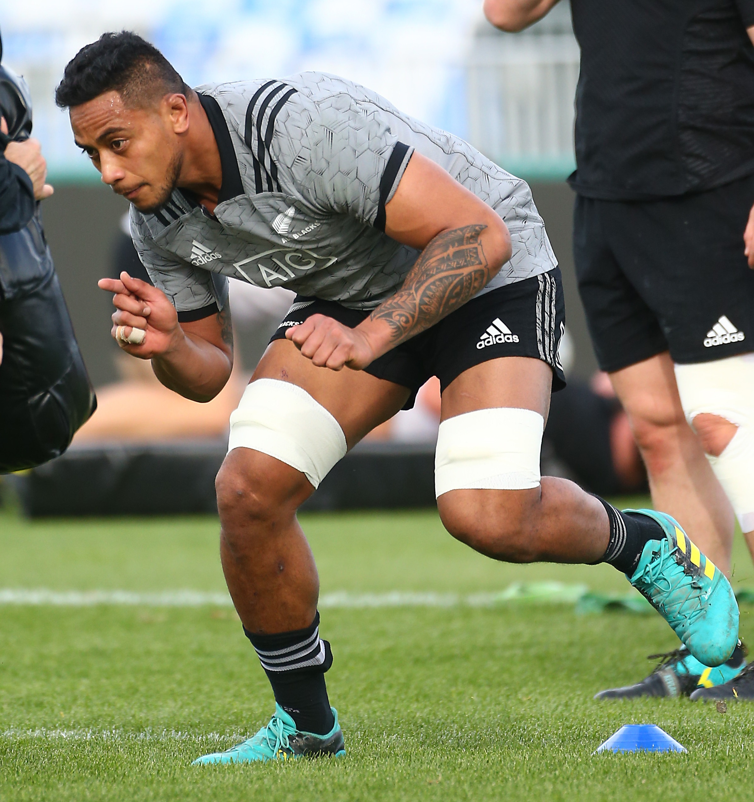 Shannon Frizell trains with the All Blacks in Nelson yesterday. PHOTO: GETTY IMAGES