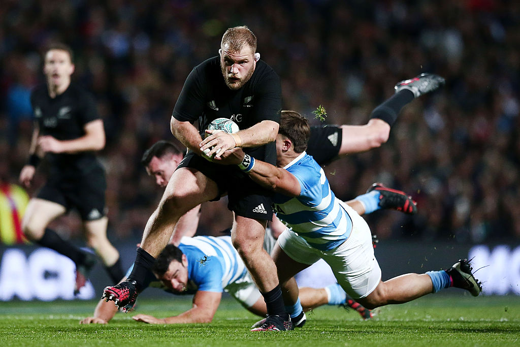 Owen Franks in action for the All Blacks against Argentina in Hamilton in September 2016. Photo:...