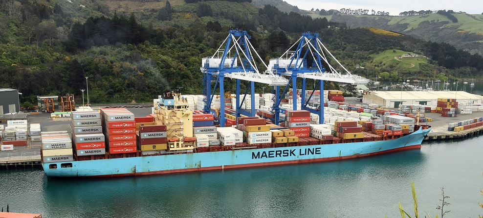 The man was struck by a container being loaded on to the Maersk Inverness. Photo: Stephen Jaquiery