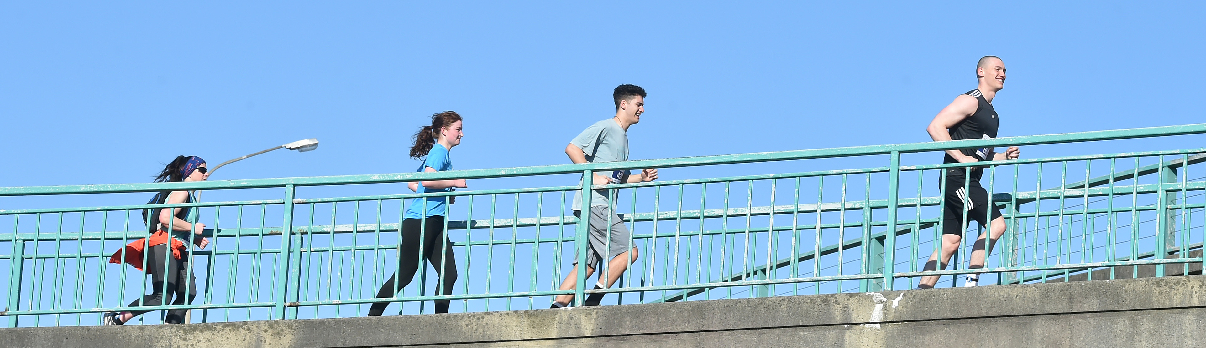 Runners enjoy fine conditions in yesterday's marathon. Photos: Gregor Richardson