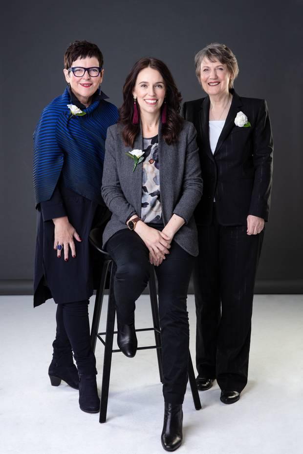 Former Prime Minister Jenny Shipley, left, current Prime Minister Jacinda Ardern, centre, and former Prime Minister Helen Clark, right. Photo: Babiche Martens via NZ Herald