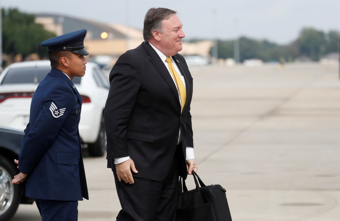 US Secretary of State Mike Pompeo heads to his plane at Joint Base Andrews, Maryland to depart...