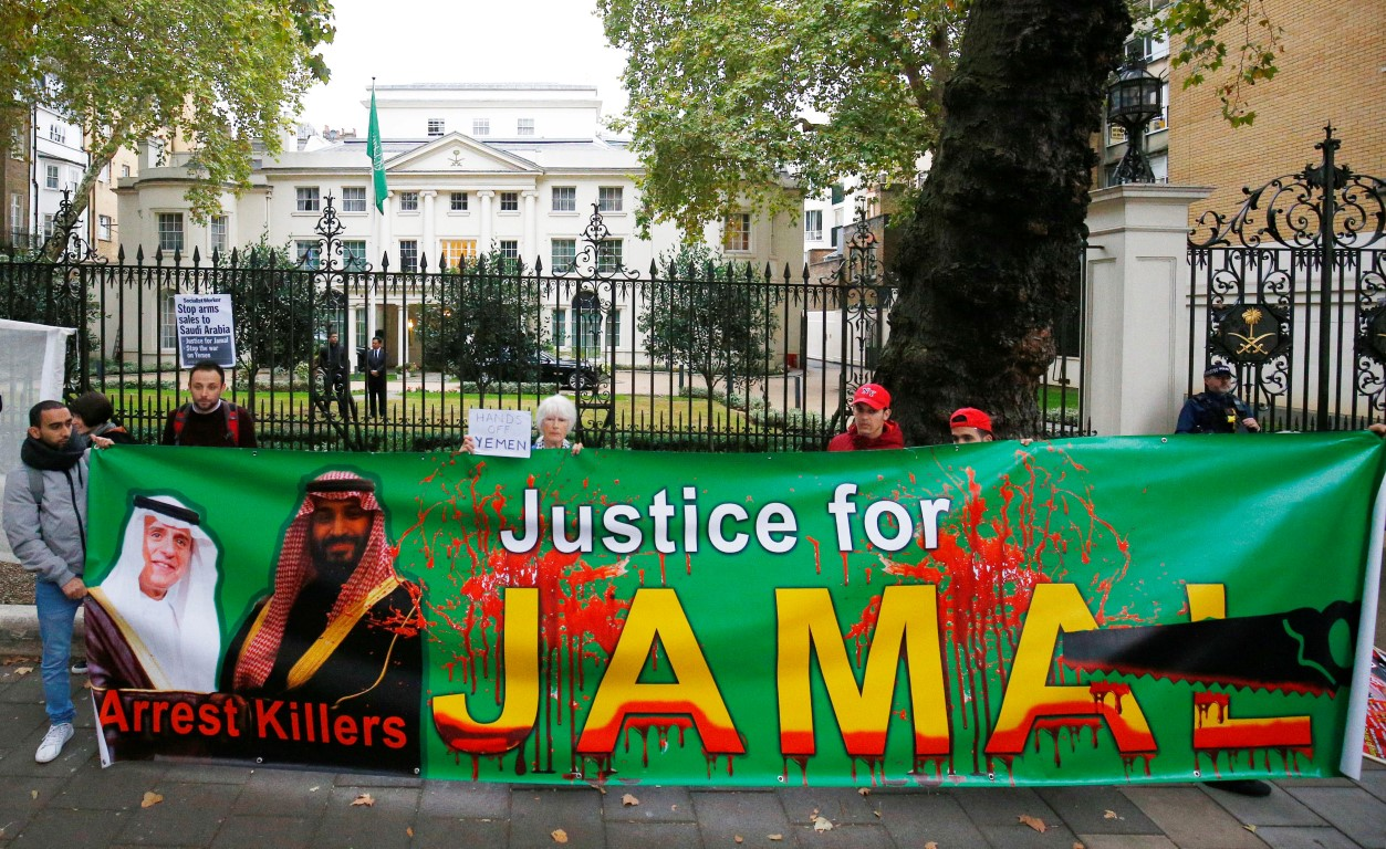 Demonstrators from the Stop The War Coalition stage a protest against the killing Jamal Khashoggi